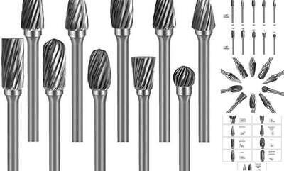 Tungsten Steel Carbide Rotary Burr Set - 10 Pcs 18 Shank 14 Single Cut
