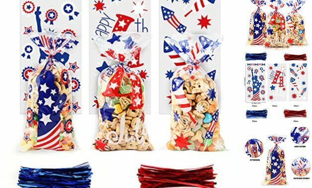 Plastic Cellophane Packing Treat Bags with Ties for Memorial Independence