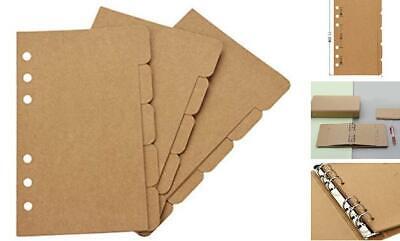 Bluecell 3 Sets Kraft Paper Divider Index Page Tab Cards For 6-holes Ring Binder