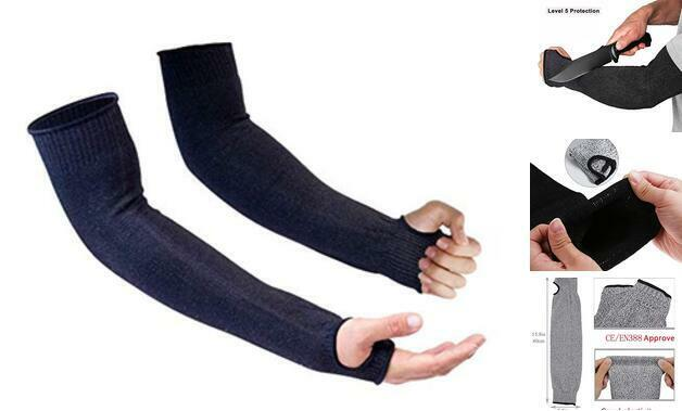 Protective Arm Sleeves, Level 5 Protection Cut Resistant Sleeve with Black