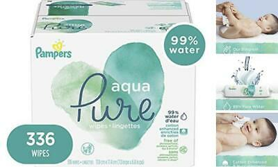 Baby Wipes, Pampers Aqua Pure Sensitive Water Baby Diaper Wipes 336 Count
