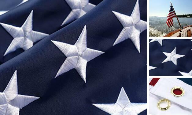 American Flag  Outdoor  Heavy Duty Nylon US Flag Made in USA 3x5 ft All Weather