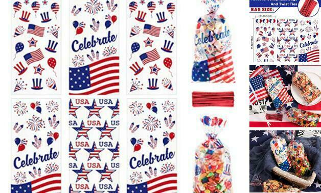 150Pcs Patriotic Cello Bag, 3 Style Candy Cellophane Bags with Red Twist Tie,