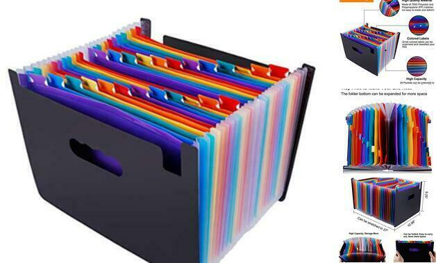 File Organizer Accordion File Folder Multi-Color 24 Pockets Plastic Stand Bag