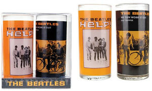 The Beatles: Help! Twin Glass Tumbler Set - New & Official In Box