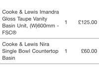 Brand New Cooke and Lewis Imandra Taupe Gloss Vanity Basin Unit + Nira single bowl counter-top basin