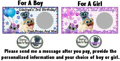 10 Puppy Dog Pals Birthday Party Baby Shower Scratch Off Game Cards Boy OR Girl