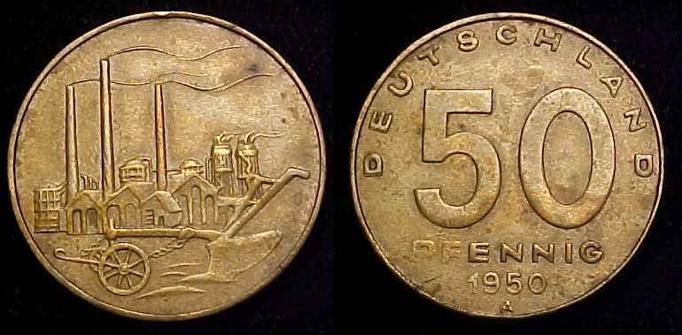 EAST GERMANY 1950 A 50 Pfennig VF+