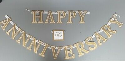 Wedding Anniversary Banners (GOLDEN WEDDING ANNIVERSARY WALL BANNER PARTY DECORATION CARDBOARD)
