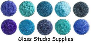 Bullseye Kiln Fusing Glass Frit Sample Packs - Blues 10 x 20g Bags