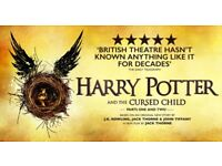 2 x Harry Potter & Cursed Child Play Tickets TODAY (Part 1 & 2) - Face Value - Stalls Front Row