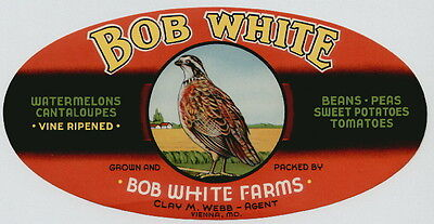 BOB WHITE Vintage Oval Vegetable Crate Label, Maryland, ***AN ORIGINAL LABEL***