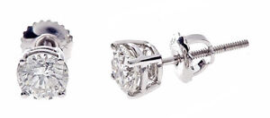 1.61ct 1 Natural Round Diamond Stud Earrings 14K White Gold Basket Screw Backs