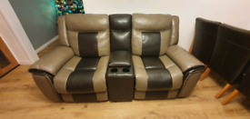 2 seater la-z-boy style leather recliner with consol