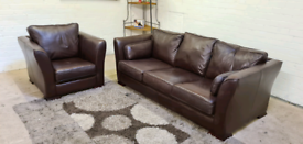 Designer Italian Leather 3 Seater & Armchair Full Sofa Set