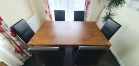 Dark Oak Dining table set with 6 chairs from Homebase
