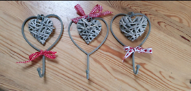 Set of Metal and Wicker Coat/Wall Hooks