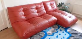 Leather 2 seater sofa & chaise longue, orange modern funky by Harveys