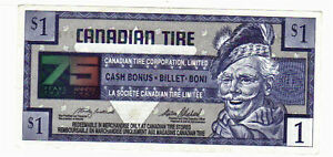 1996 $1.00 CTC CANADIAN TIRE MONEY 75 years of service
