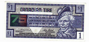 1996 $1.00 CTC CANADIAN TIRE MONEY 75 years of service Kitchener / Waterloo Kitchener Area image 1