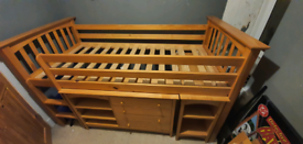 NEXT solid Pine Cabin Bed, with removable unit/draws/slide out desk