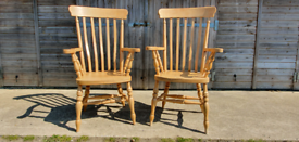 Pair of Beech Grandfather Carver Dining Chairs