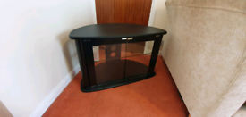 TV stand - black with glass doors