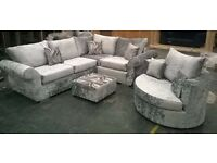 NEW 8x6ft DQF CRUSH VELVET CORNER ONLY £499