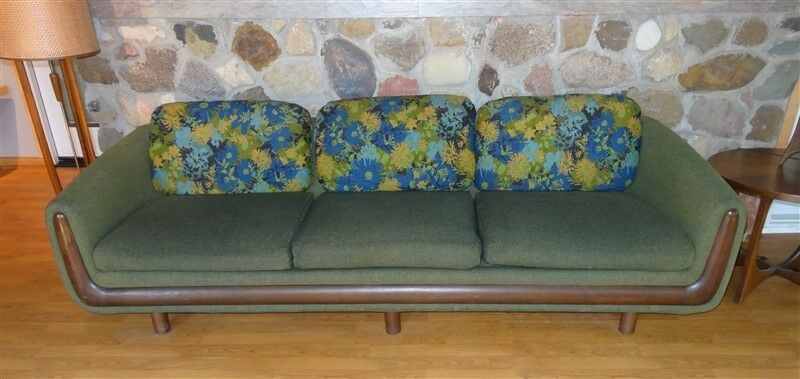 8 FOOT Mid Century Couch Pearsall * ORIGINAL Beautiful Upholstery