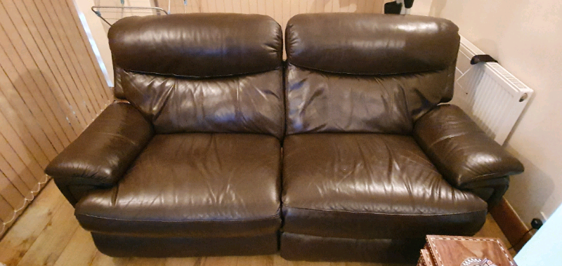 Real Leather Sofas X2 In South