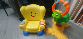 Kids chair and bounce toy.