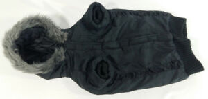 Winter Doggy Coat with Fur Hood Black with Measurements