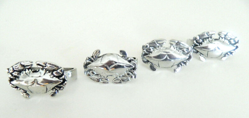 Crab Pewter Napkin Rings Set of 4 Nautical Sea Made in Canada Gift Box