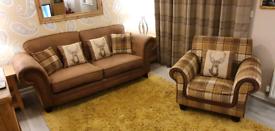 SCS sofa & tartan chair