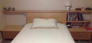 Solid wood headboard/shelving/nightstand unit for queen bed