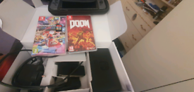 Nintendo switch grey , 3 games , and case