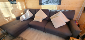 Grey Corner Sofa with Chair and Footstool