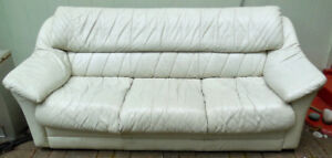 White Leather Scan Design Sofa, Worn Soft