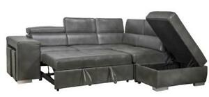 2-PIECE LEATHER AIR ADJUSTABLE HEADREST SECTIONAL $1398