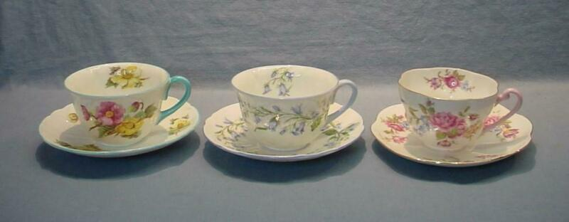3 Vintage Shelley Teacups & Saucers