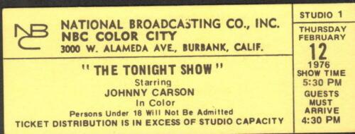THE TONIGHT SHOW WITH JOHNNY CARSON ORIGINAL STUDIO AUDIENCE TICKET 2/12/76 RARE