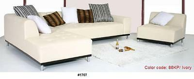 Modern classic design ivory leather sectional chaise + sofa 2pc set #1707 ()