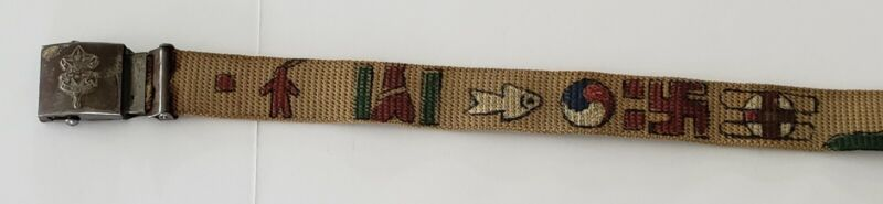 VINTAGE BOY SCOUTS OF AMERICA BELT ORIGINAL AUTHENTIC HAND PAINT GRAPHICS EARLY