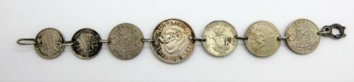 Vintage WW2 Trench Art Bracelet with Multi World Coins Soldier Made for Sweetie