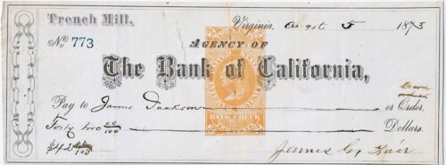 """1873 James G. Fair Nevada Comstock Lode """"Silver King"""" Check Signed"""
