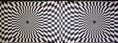 Funky Borders - BLACK AND WHITE CHECK - FUNKY OPTICS PREPASTED WALLPAPER BORDER # FB075146B