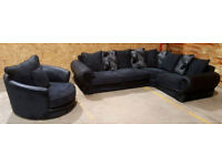Corner Sofa & Swivel Chair - Charcoal/Black . Can deliver