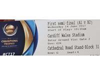 Gold Adult Tickets X 4 Champions Trophy Cricket 2017 Semi Final (England vs Pakistan)