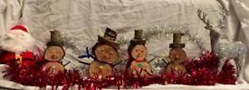 Rustic log snowmen for sale