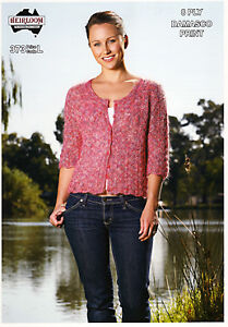 Heirloom Knitting Pattern #373 Ladies 3/4 Sleeved Cardigan in Domasco 8 Ply